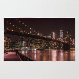 MANHATTAN SKYLINE & BROOKLYN BRIDGE Sunset Rug