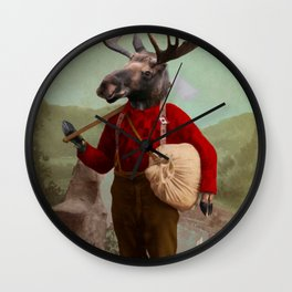 Lumberjack Marvin Moose Wall Clock