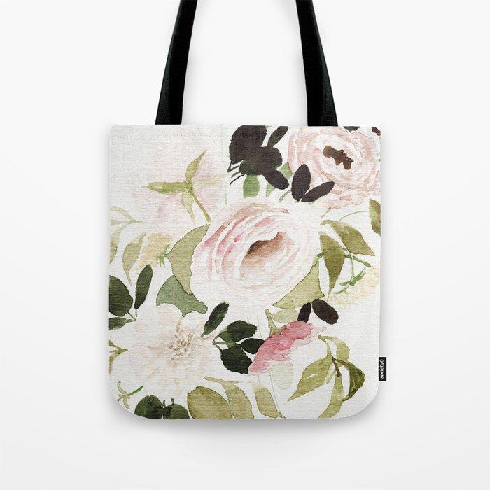 Romantic Loose Rose Bouquet Tote Bag