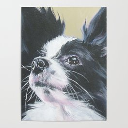 Papillon Dog art portrait from an original painting by L.A.Shepard Poster
