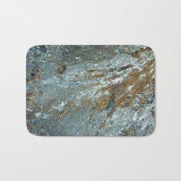 Earthy Blue and Gold Rock Bath Mat