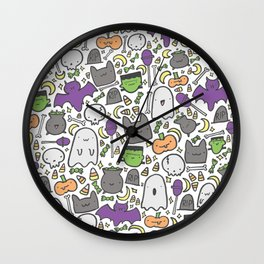 Kawaii Halloween - White Wall Clock