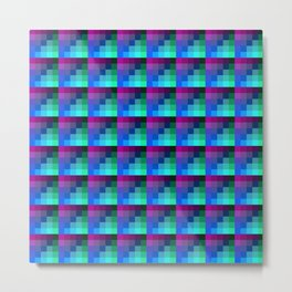 Magenta and Mauve Pixel Style Repeat Tile Pattern Metal Print