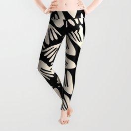 Papier Découpé Modern Abstract Cutout Pattern in Almond Cream and Black Leggings