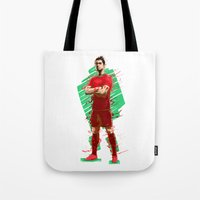 ronaldo Tote Bags featuring Football Legends: Cristiano Ronaldo - Portugal by Akyanyme
