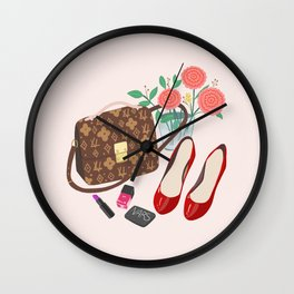 Classic Friday Night, bag, shoes, flower, make up, lipstick art print, girly illustration Wall Clock