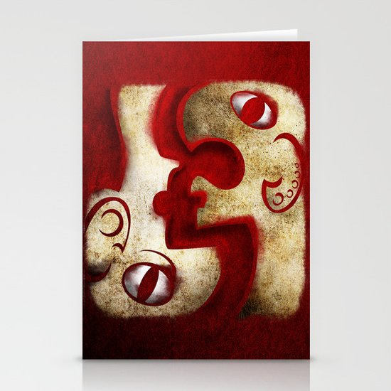 Red Digital Engraving Twin Faces Stationery Cards