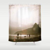 rio de janeiro Shower Curtains featuring Morro Dois Irmãos - Rio de Janeiro by Tamara Arroba