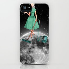 Housewife on the moon iPhone Case