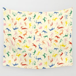Coloured cave paintings Wall Tapestry