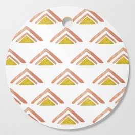 Pink and Yellow Boho Triangles Cutting Board