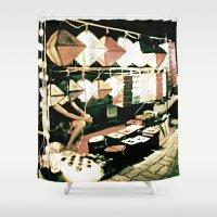 lanterns Shower Curtains featuring Legs & Lanterns  by Ethna Gillespie