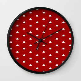 Red background with small white clouds pattern Wall Clock