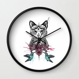 Cat with humming birds Wall Clock