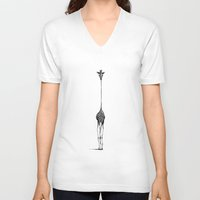 drawing V-neck T-shirts featuring Giraffe by Nicole Cioffe