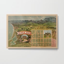 Map Of Hollywood 1887 Metal Print