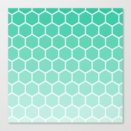 Teal gradient honey comb pattern Canvas Print