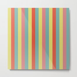 Vertical tropical paradise stripes sunny turquoise lines Metal Print