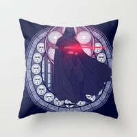 darth vader Throw Pillows featuring Darth Vader  by NicoleGrahamART