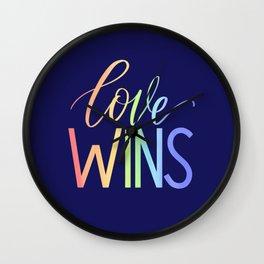 """Love Wins"" Rainbow Gradient Lettering Wall Clock"