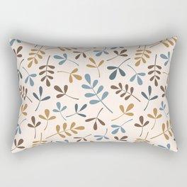 Assorted Leaf Silhouettes Ptn Blues Brwn Gld Crm Rectangular Pillow
