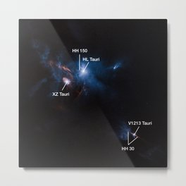 Hubble Space Telescope - Jets, bubbles and bursts of light in Taurus — annotated Metal Print
