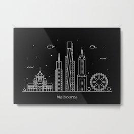 Melbourne Minimal Nightscape / Skyline Drawing Metal Print