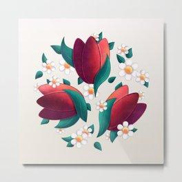 Bouquet (Tulipes et Marguerittes) Metal Print