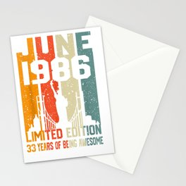 June 1986 Tshirt 33rd Birthday gift Tee for 33 years olds Stationery Cards
