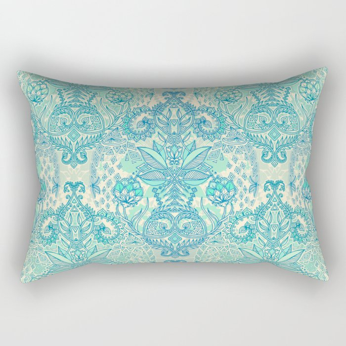 Botanical Geometry - nature pattern in blue, mint green & cream Rectangular Pillow