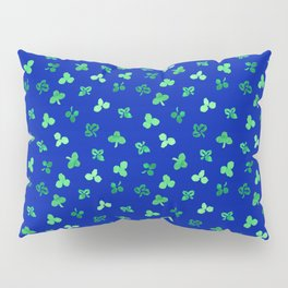 Clover Leaves Pattern on Royal Blue Pillow Sham
