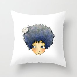 the girl with lamb hair Throw Pillow