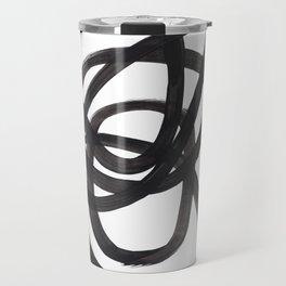 Black And White Minimalist Mid Century Abstract Ink Art Circle Swirls Black Circles Minimal Travel Mug