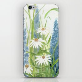 Watercolor Botanical Garden Flower Wildflower Blue Flower Garden iPhone Skin