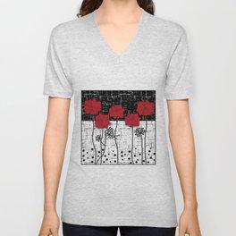 Retro. Red poppies on white background sulfur. Applique. Unisex V-Neck