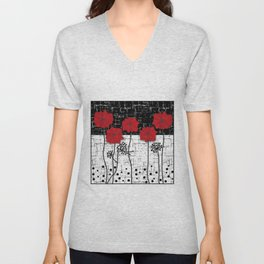 Retro. Red poppies on white background sulfur. Applique. Unisex V-Neck