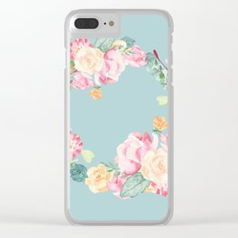 Spring Bouquet Wreath Duck Egg Blue Floral Print Clear iPhone Case
