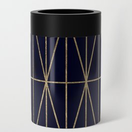Modern gold geometric triangles pattern navy blue watercolor Can Cooler