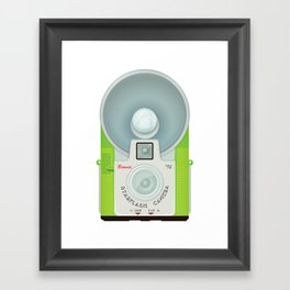 VINTAGE CAMERA GREEN Framed Art Print