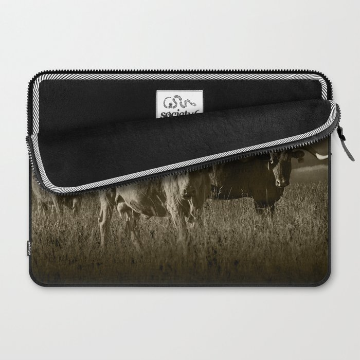Sepia Tone of Texas Longhorn Steers under a Cloudy Sky Laptop Sleeve