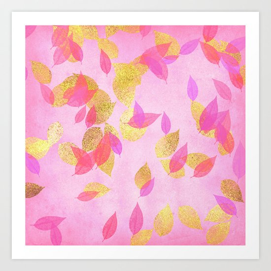 Autumn-world 5 - gold glitter leaves on pink background on #Society6 Art Print