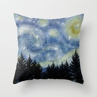 starry night Throw Pillows featuring Starry Night by Astrablink7