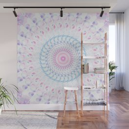 Pastel Wave Mandala in Pale Pink, White, and Lilac Wall Mural