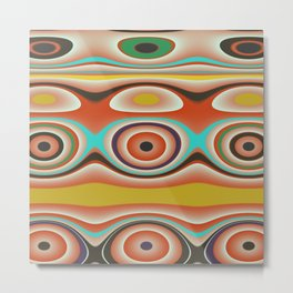 Oval Circles and Curves in Bright Aqua, Gold, Orange, Purple, and Green Metal Print