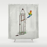 freedom Shower Curtains featuring Freedom by Robert Richter – Artist & Illustrator