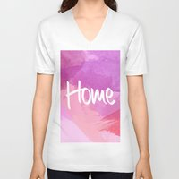 water colour V-neck T-shirts featuring Water Colour Home by Ladsandstuff