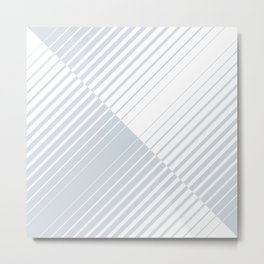 gradient stripes triangles in ice gray and white Metal Print