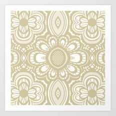 Lace Floral Sand on Ivory Art Print