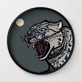 Snow Leopard Growling Wall Clock