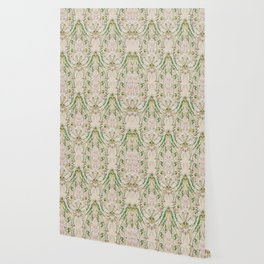 Green Pink Leaf Flower Paisley Wallpaper